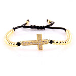 bead cross bracelet rope Gold