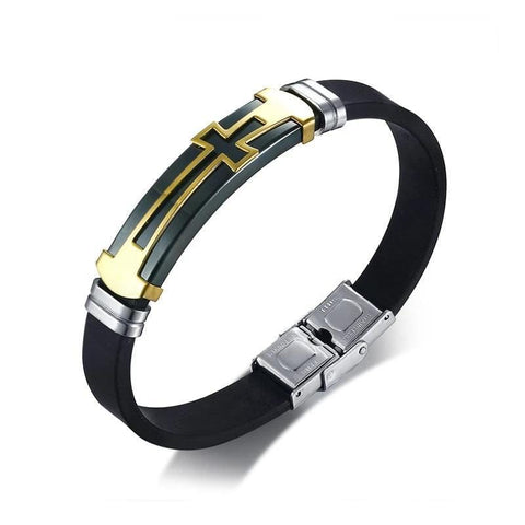bracelet cross gold mens