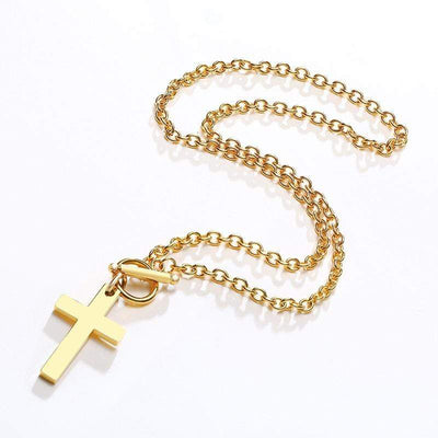 Gold Cross Toggle Necklace