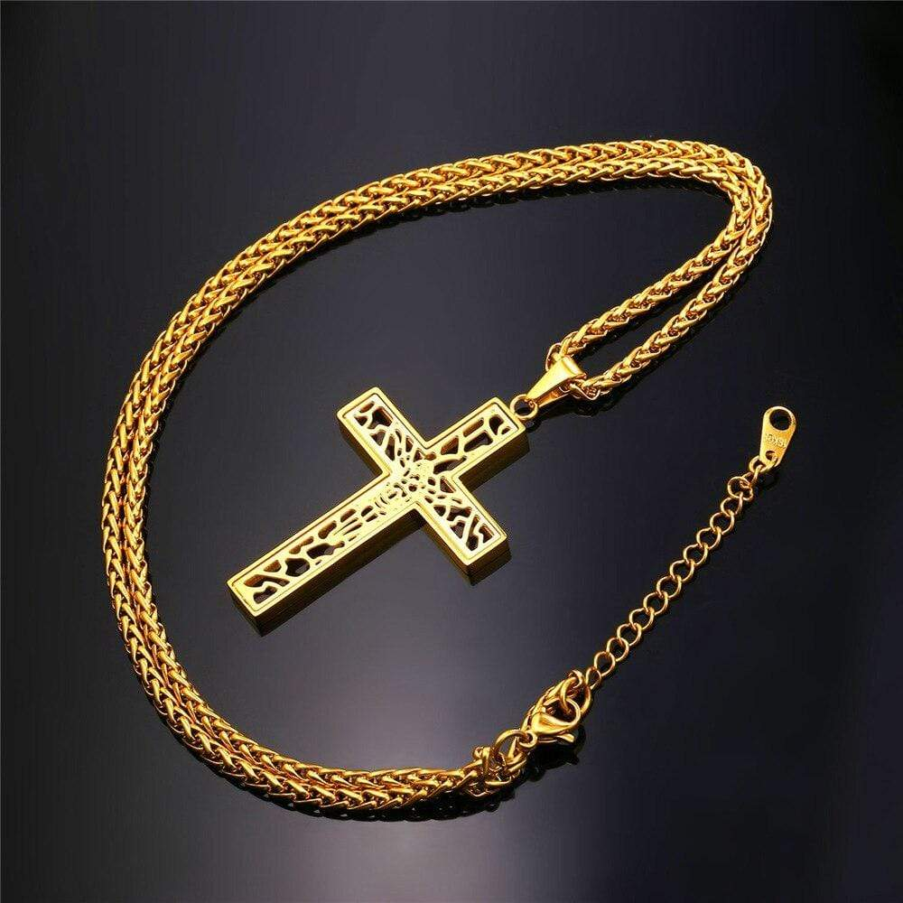 hollow cross necklace Gold
