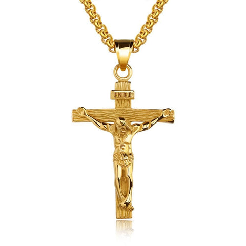 Gold INRI Cross Necklace