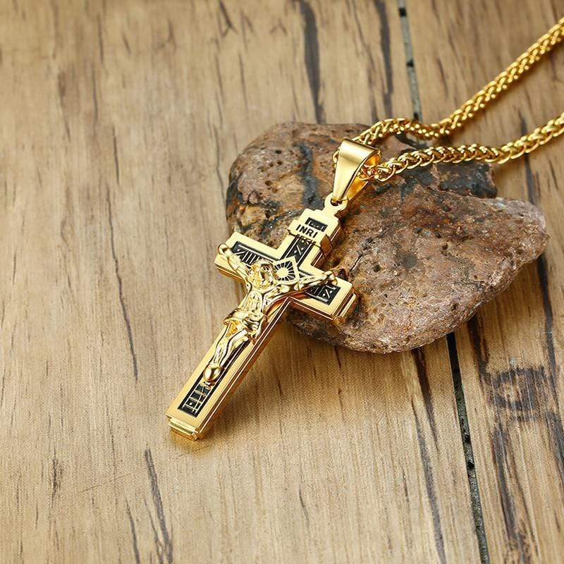 INRI Golden and Black Crucifix Necklace