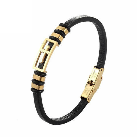 Leather Cross Bracelet Gold for Women