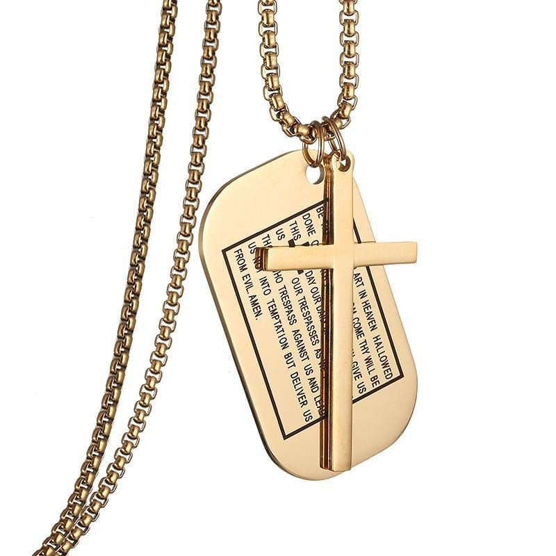 lord's prayer dog tag necklace gold