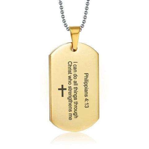 philippians 4:13 dog tag necklace gold
