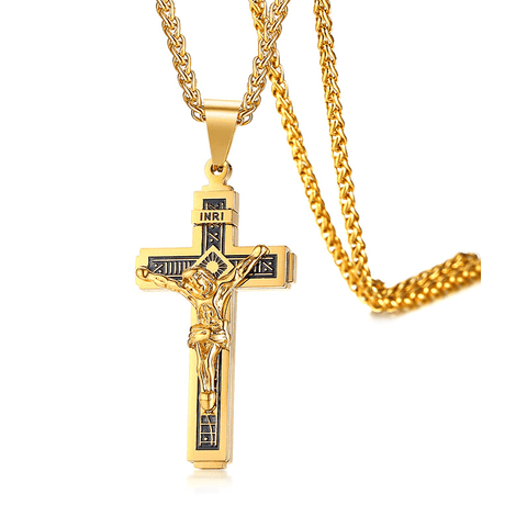 Golden INRI Crucifix Necklace