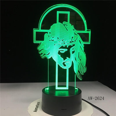 jesus 3d illusion lamp green