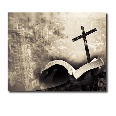 Christian Canvas Art<br> Cross And City Wall Decor
