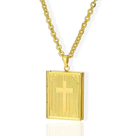 Holy Bible Locket Necklace gold