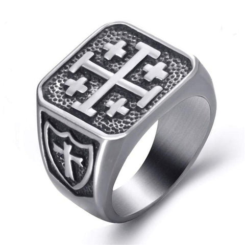 Jerusalem Cross Signet Ring
