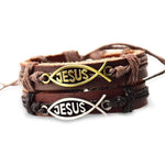 jesus-fish-leather-bracelet