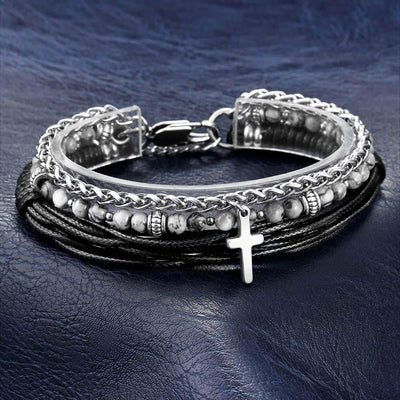 Christian bead cross bracelet leather and stainless steel