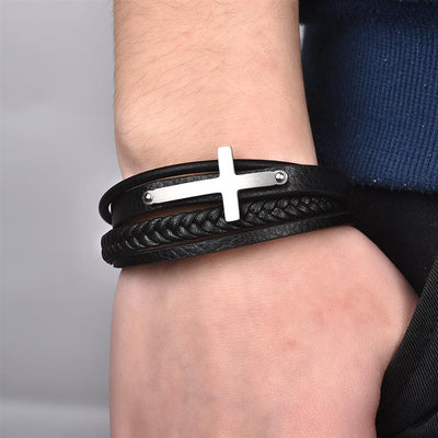 Black Leather Men's Bracelet with Cross