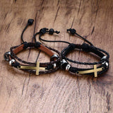 Leather Bracelets With Sideways Cross