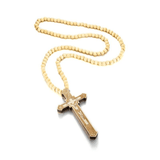 Wooden Bead Cross Necklace light brown
