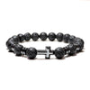 Black Lava Stone Cross Bracelet long
