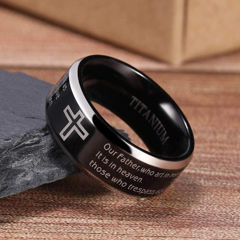 The Lord's Prayer Ring Matthew 6:9-13 Titanium