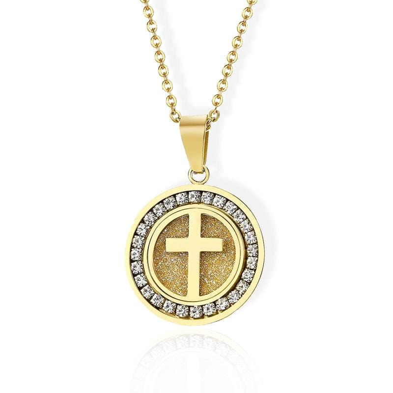 Medallion cross necklace gold