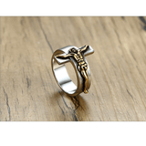 Jesus Ring steel crucifix