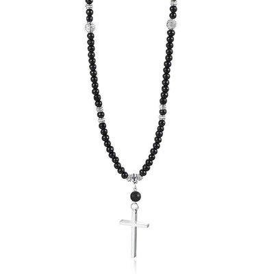 Men's Beaded Necklace With Cross