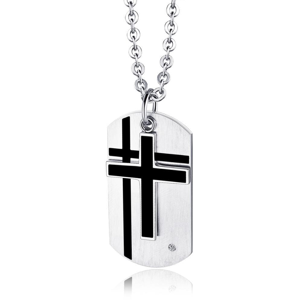 Men's Cross Dog Tag Necklace