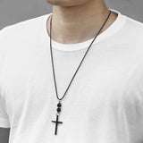 men's bead cross necklace with leather cord
