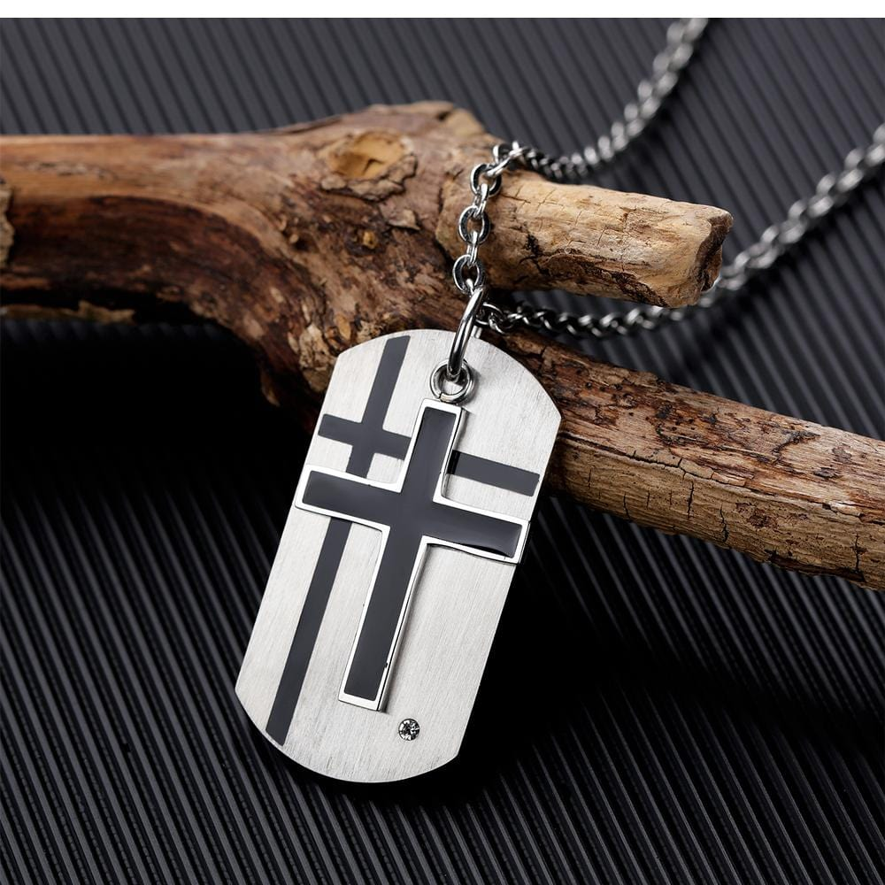 Cross Dog Tag Necklace for Men