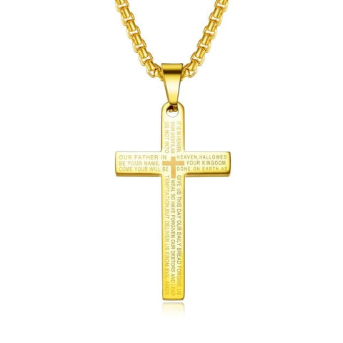 Men's Cross Necklace with Lord's Prayer Gold