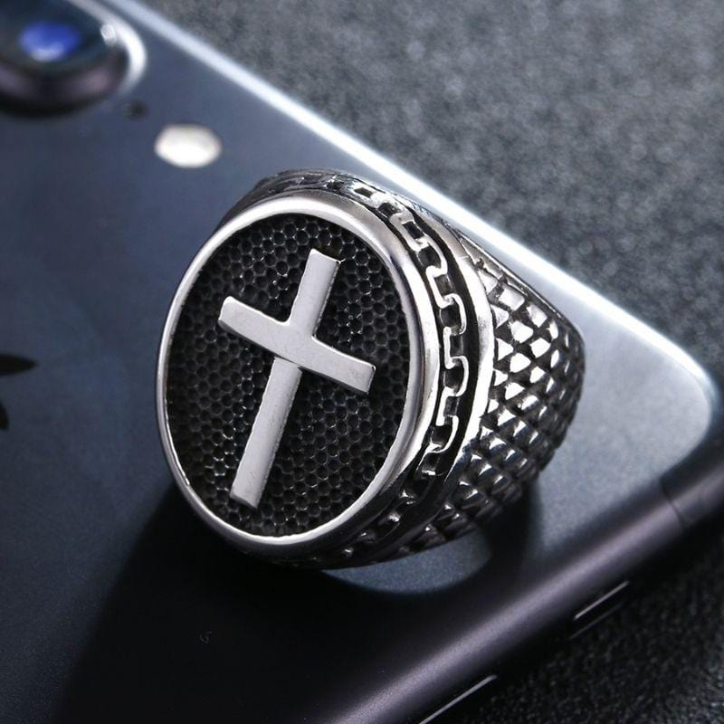 mens-signet-christian cross-ring