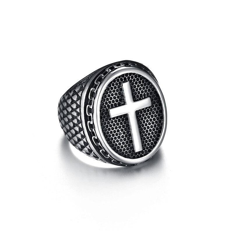 mens-signet-cross-ring-steel