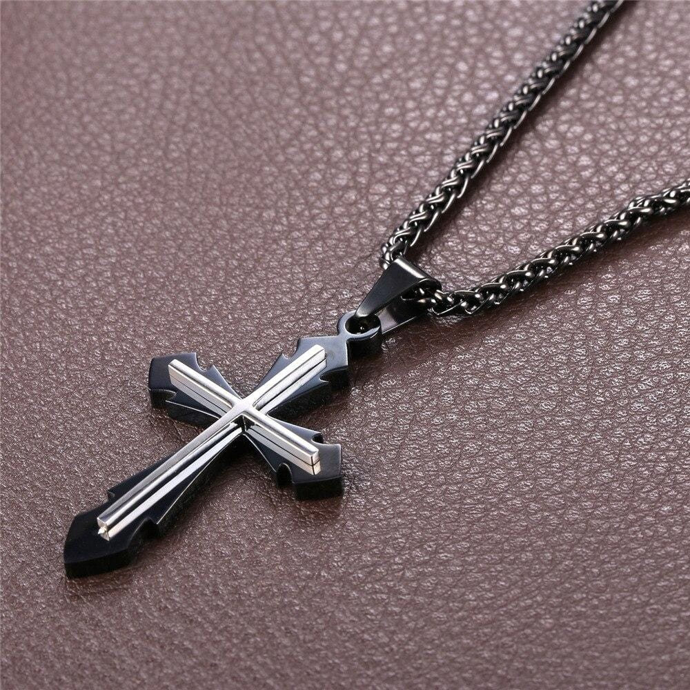 mens stainless steel cross necklace black chain