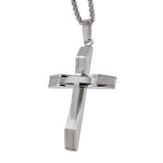Modern Silver Cross Necklace