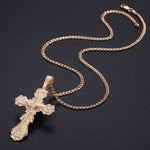 crucifix necklace with copper and chain