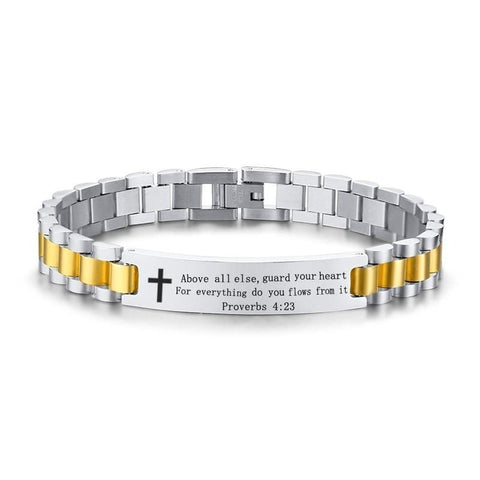 Men's Bible Verse Bracelet Proverbs 4:23