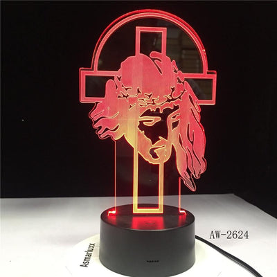 jesus 3d illusion lamp red