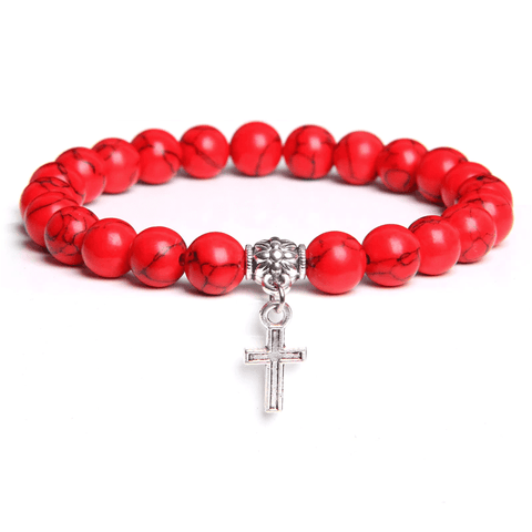 red stone cross charm bracelet