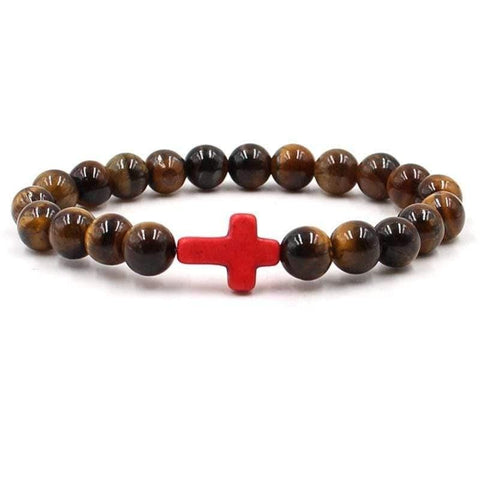 Cross Bead Bracelet <br>Tigers Eye Red Cross