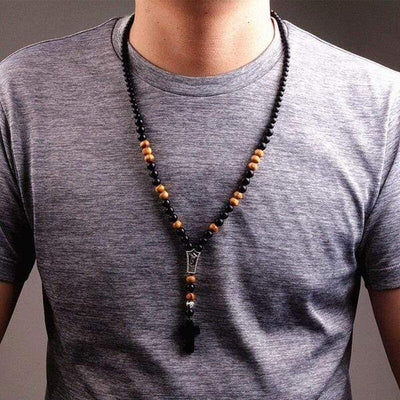 Men's Wood Beaded Cross Necklace Rosary