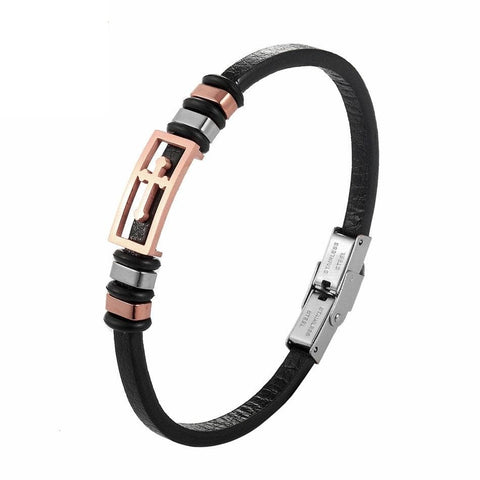 Leather Cross Bracelet for Womens