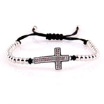 bead cross bracelet rope silver