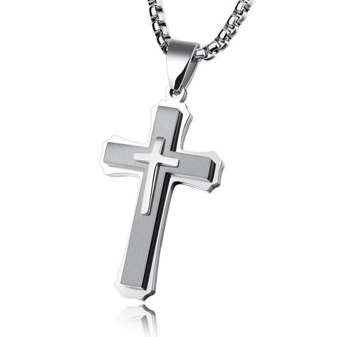 Men's Stainless Steel Necklace With Cross