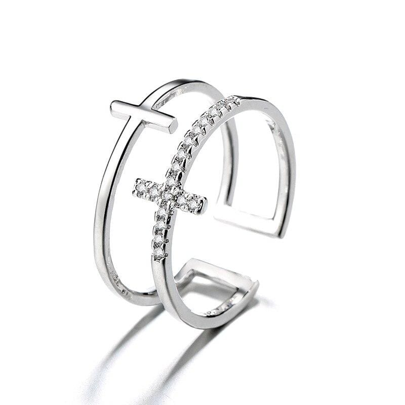 silver cross double ring