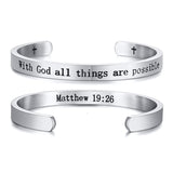cuff bracelet with bible verse Matthew 19:26 silver