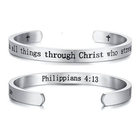 cuff bracelet with bible verse philippians 4:13 silver