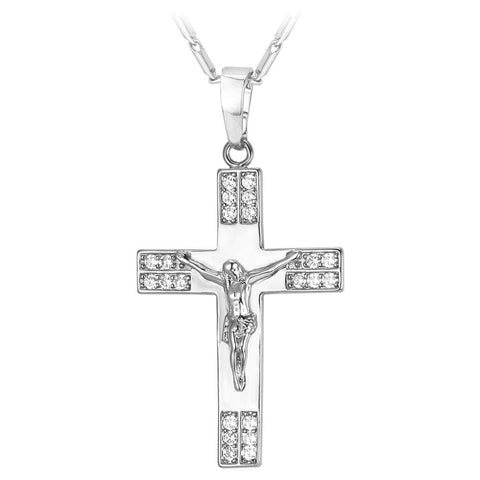 Silver Diamond Jesus Cross Necklace