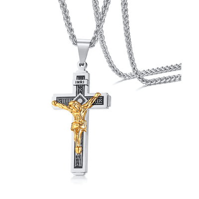 Steel and Gold INRI Crucifix Necklace