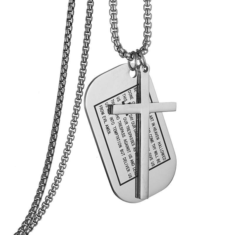 lord's prayer dog tag necklace silver