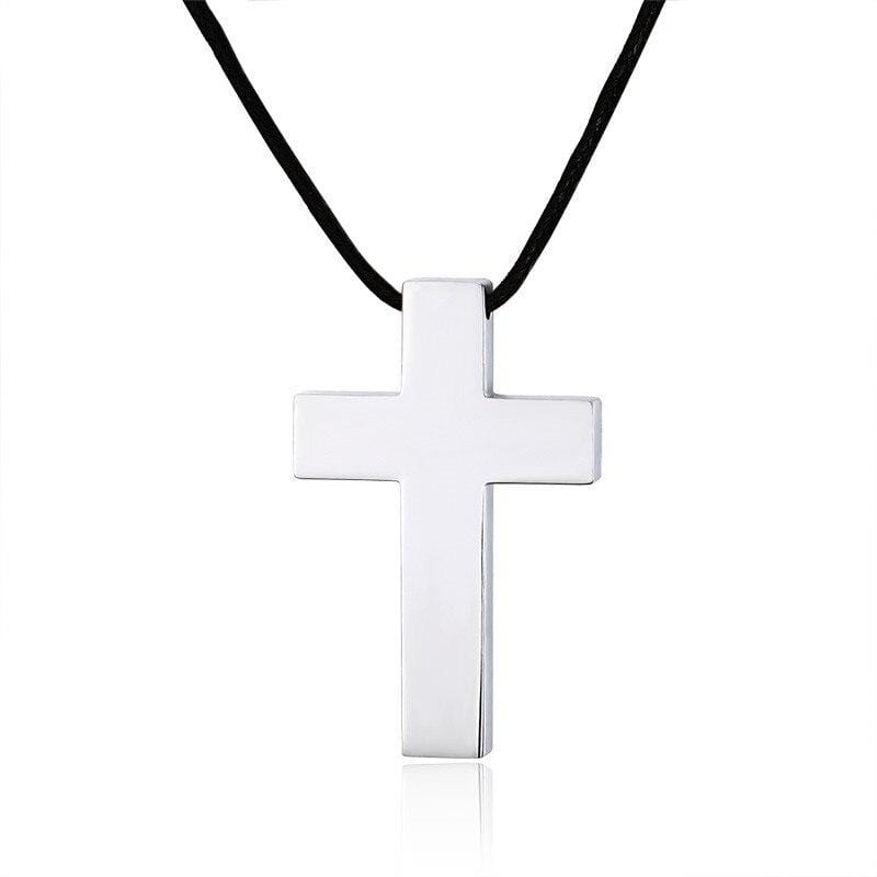 silver-mens cross-rope necklace