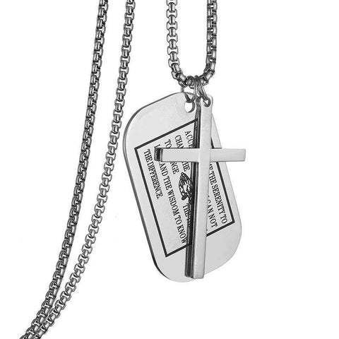Serenity Prayer Dog Tag Necklace silver
