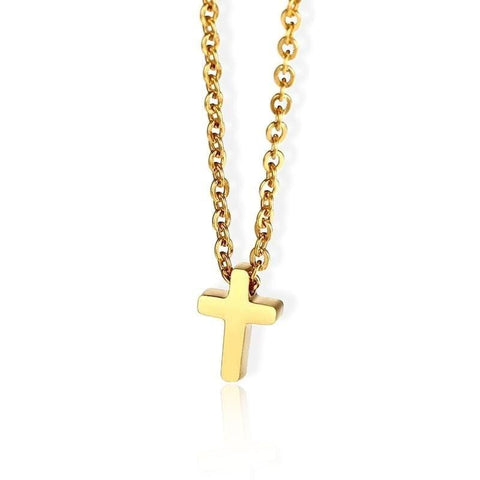 Women's Small Gold Cross Necklace